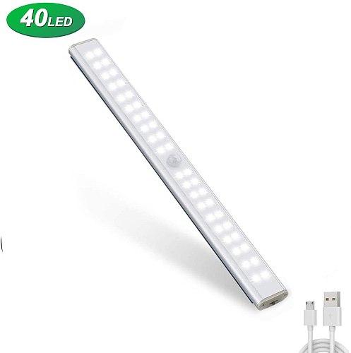 USB Rechargeable Sensor Cabinet Light 24 40 60 LED Motion Sensor Lights Magnetic Wireless Wall Lamp for Closet Wardrobe Kitchen