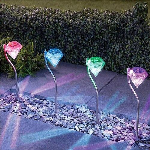 4PCS LED Solar Garden Lights Outdoor Waterproof Lawn Lamp Colorful Diamonds Courtyard Deco Light For Pathway Flowerpot Trail