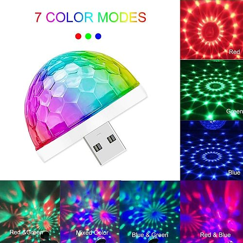 LED Mini USB Magic Ball Light Colorful Atmosphere RGB DJ Club Disco Party Car Lamp Stage Effect Portable Xmas Halloween Holiday
