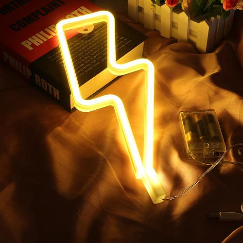 LED Neon Sign Lightning Shaped USB Battery Operated Night Light Decorative Table Lamp For Home Party Living Room Xmas Gift