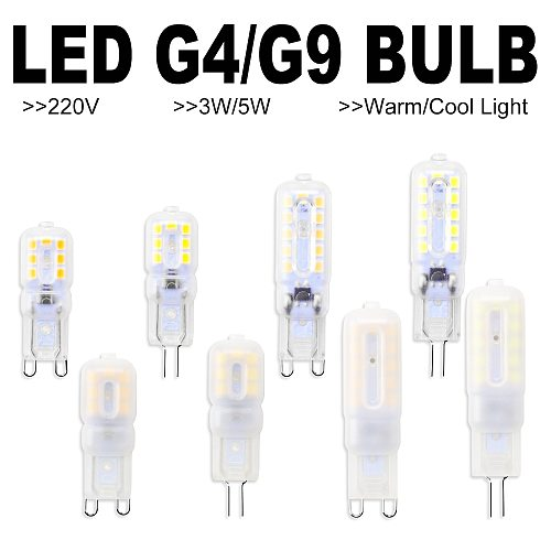 6PCS Corn Bulb G9 LED Bulb 3W 5W Bombilla G4 LED 220V Lamp 2835 Lampada g9 LED Dimmable Light Replace Halogen Lamp Candle Light