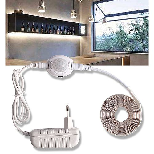 LED Under Cabinet Lights with Motion Sensor Closet Light LED Strip 12V Waterproof Cupboard Wardrobe Bed Lamp 220 EU Power Supply