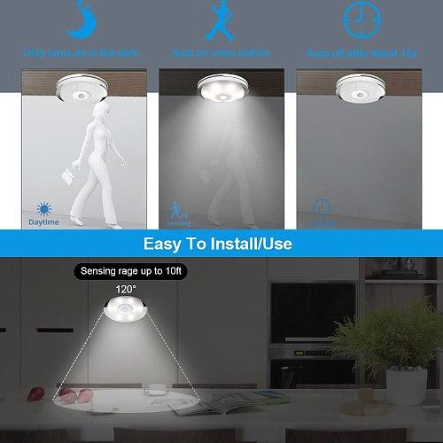 PIR Motion Sensor LED Kitchen Lights Battery Under Cabinet Night Lamp Stairs/Closet/Wardrobe Lighting LED Puck Lights Warm White