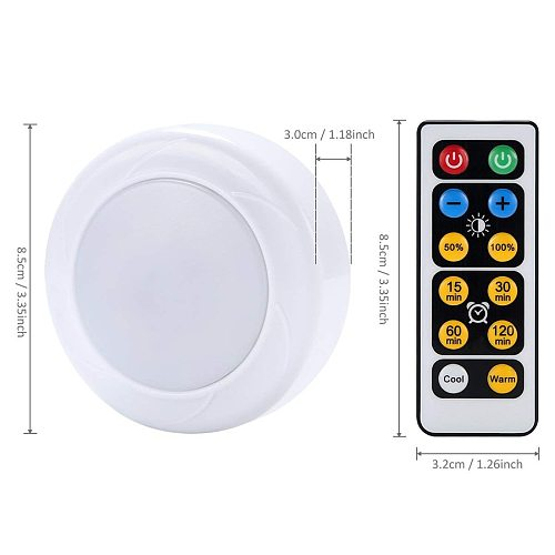 Dimmable Touch Sensor LED Under Cabinets lights Warm white+White Double Color LED Puck Lights Close Wardrobe Kitchen Night Light