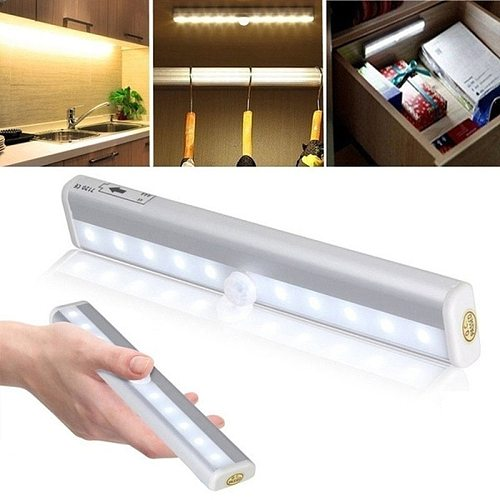 Wireless LED Under Cabinet Lights 6/10 LEDs Closet Light White/Warm White Motion Sensor Activated Night Light for Kitchen Desk