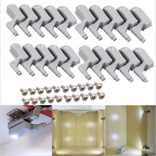 20PCS/10PCS 0.25W Universal Under Cabinet LED Light Cupboard Closet Wardrobe Inner Hinge LED Sensor Light Kitchen Night Light
