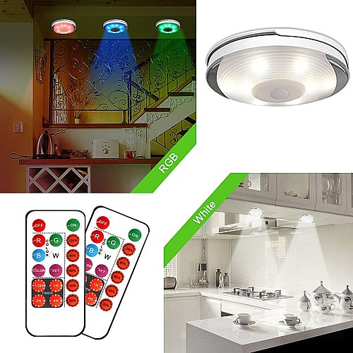 Dimmable Touch Sensor Battery LED Under Cabinet Light with Remote Wireless Lighting Kitchen Night Lamp Closet Bedroom Puck Light