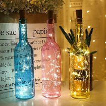 Battery Powered Garland Wine Bottle Lights with Cork 2M 20 LED Copper Wire Colorful Fairy Lights String for Party Wedding Decor