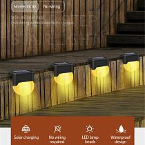 Step Stair Deck Lights Balcony Fence Solar Light 1-6pcs LED Solar Lamp Path Stair Outdoor Waterproof Wall Light Garden Landscape
