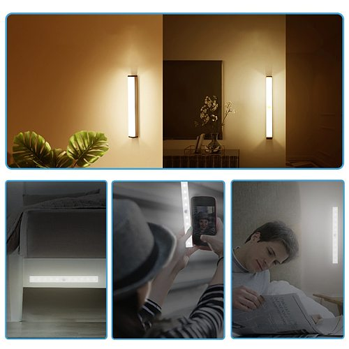 2020 LED Motion Sensor Night Light USB Rechargeable 15cm/21cm/30cm/50cm Night lamp For Kitchen Cabinet Wardrobe Wall Lamp