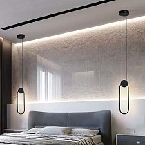 Nordic Minimalist White Black Square Round Pendant Lamp with Long Wire Dimmable LED High Ceiling Hanging Light for Bedside Decor