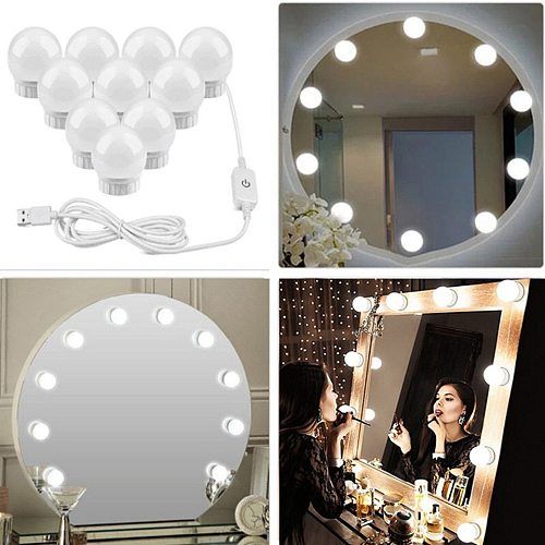 Wall lamp LED 16W makeup mirror dressing light LED bulb Hollywood style touch switch USB cosmetic lighting dressing table