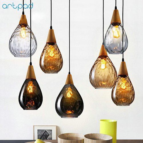 Artpad Nordic Glass Pendant Light For Living Room Water Drop Shape E27 Dining Room Bar Bedroom Pendant Lamp Hanging Fixtures
