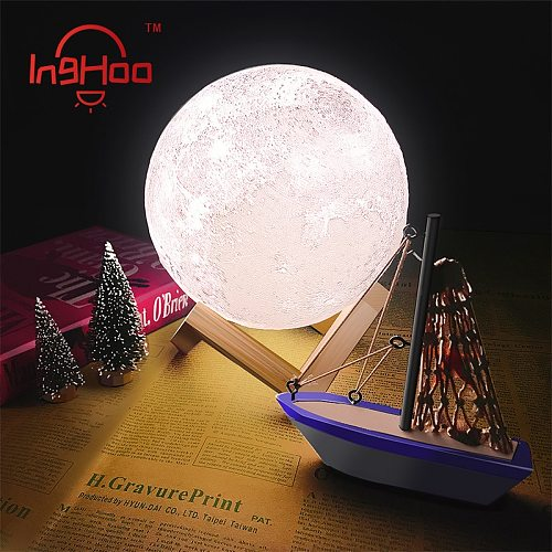 IngHoo 3D Print LED Lamp Moon Earth Jupiter Home Bedroom Decor Creative Mood Night Light USB Recharge Touch Pat Control Colorful