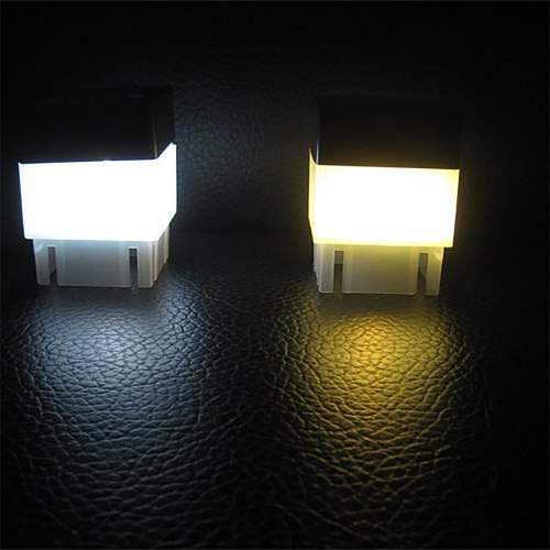 2pc Solar Powered Outdoor LED Square Fence Light Garden Landscape Post Deck Lamp Headlight solar fence fence light hot sale
