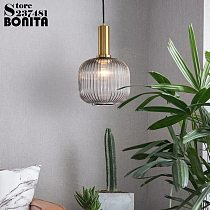 Bedside Hanging lamps Simple glass lighting striped vintage small pendant lamp  Electroplated gold green glass droplight loft