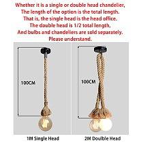 Hemp Rope Pendant Lights Retro Vintage Fixture E27 85-265V Lamparas De Techo Colgante Moderna Pendant Lamp Industrial Hanging