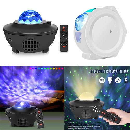 Colorful Starry Galaxy Projector Blueteeth USB Voice Control Music Player LED Night Light USB Charging Projection Lamp Kids Gift