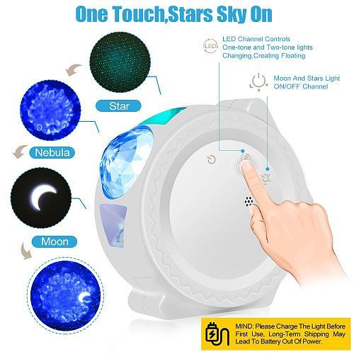 Stary Sky Projector 6 Colors Ocean Waving Light LED Nebula Cloud Night Lamp 360 Degree Rotation for Kids Children Gift