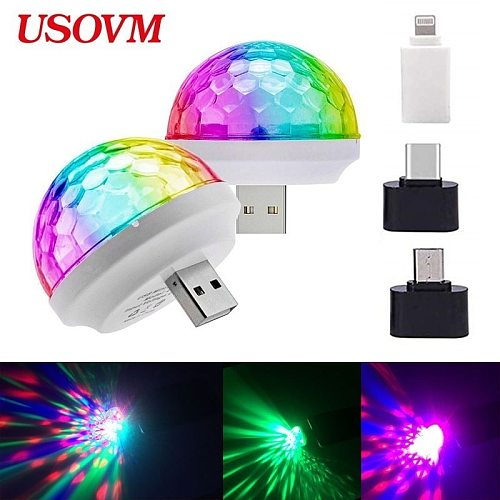 Disco Lights Mini USB Colorful Led Night Light Self-propelled Crystal Magic Ball Stage Power Supply Lamp Romantic Nightlight