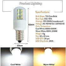 E14 E12 LED Crystal Lamp Light SMD 5050 3W Microwave Oven Light Bulb Freezer Lamp Cold / Warm White AC 110V 220V
