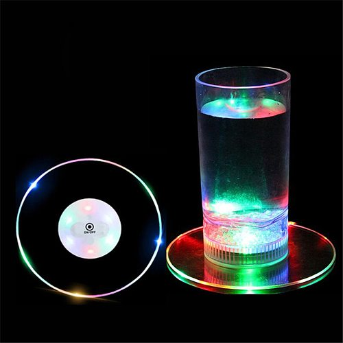 1Pcs 10CM Acrylic Colorful LED Glorifier Drink Cup Mat Ultra-thin LED Bar Glow Coasters for Cup Xmas Party Wedding Dropshipping