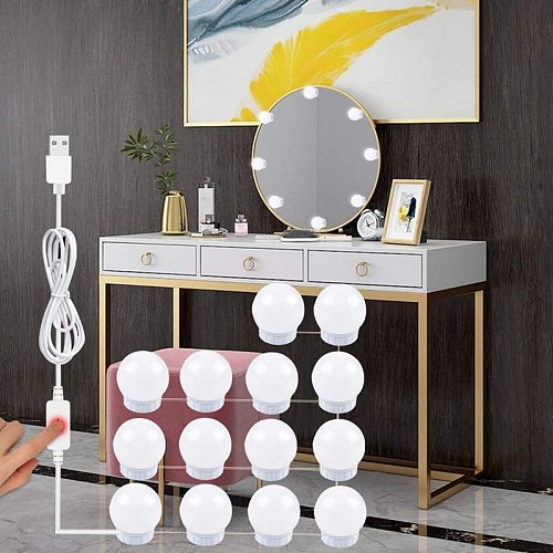 USB 5V Makeup Mirror Light Wall Lamp LED Hollywood Style Dimmable Vanity Light Bulbs for Dressing Table Bathroom Wall Mirror