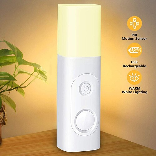 Newly Bedside Motion Sensor Night Light USB Rechargeable Portable Table LED Light Cordless Bedroom  VA88