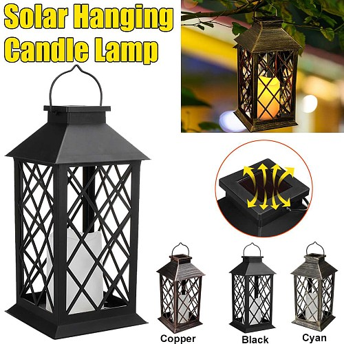 Solar Sensor Solar Lantern Outdoor Garden Hanging Lantern LED Flickering Hanging Candle Mission Lights for Table Outdoor Party