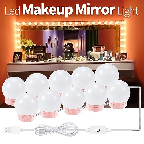 Led Makeup Mirror Light LED Hollywood Light 2 6 10 14Bulb 12V EU US Plug Dimmable Touch Control DIY Lighting For Dressing Table