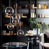 Nordic Clear Glass Pendant Lights Globe Chrome Glass Ball Pendant Lamp Dining Room Kitchen Hanging Lamp Home decor light fixture