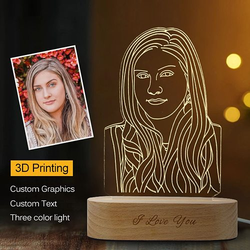 Dropshipping Customized 3D Night Light USB Wooden Base DIY Night Lamp For Wedding Christmas Gift Holiday Light Custom Text Photo