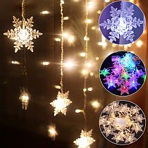Outdoor Xmas Snowflake LED String lights Flashing Lights Curtain Light Waterproof Holiday Party Connectable Wave Fairy Light D30