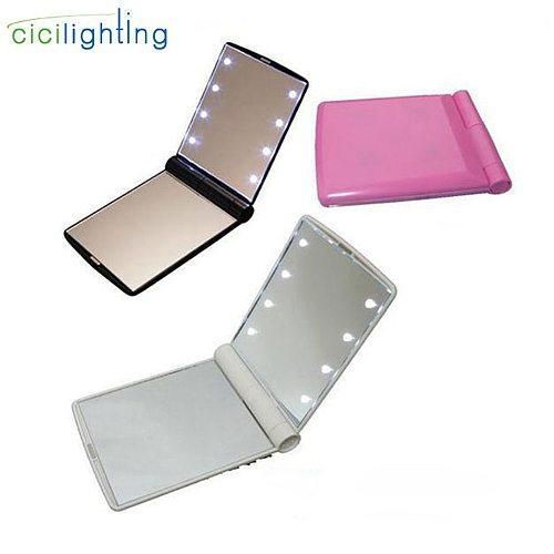 Portable LED Light Makeup Mirror Vanity lights Compact Make Up Pocket mirrors Vanity Cosmetic hand folding led Mirror lamp