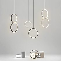 Ring pendant light minimalist /creative /personality bedroom bedside LED pendant lights long line hanging lamp