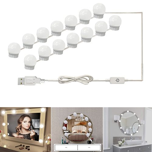 Makeup Mirror LED Lights 6 10 14 Hollywood Vanity Bulbs for Dressing Table with Dimmer and Plug in,Linkable,Mirror not included