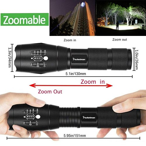 Ultra Bright  12000 LM Led flashlight lantern led torch T6/L2/V6 5 Switch Modes Zoomable Bicycle Light use 18650 battery