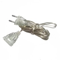 3M 5M EU US Power Extension Cable Transparent Standard Power Extension Cord Wire for LED String Light Christmas Holiday Lights