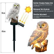 2 Colours Outdoor Garden Sculptures Lamp Owl Shape for Garden Decoration Waterproof Bird Resin Yard Garden Decor Sculptures