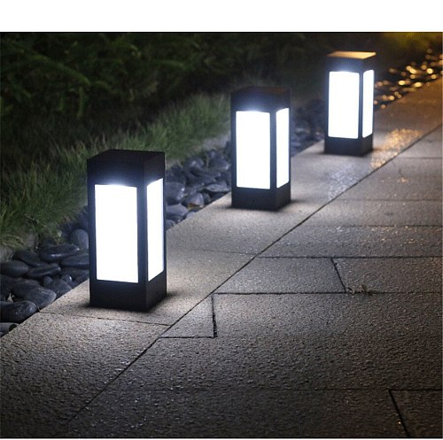 BEIAIDI Modern Outdoor Solar Garden Fence Landscape Pillar Lamp IP65 Waterproof Villa Park Pathway Courtyard Gate Column Light