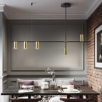 Gold or Black Simple LED Chandelier Modern Kitchen island Long Hanging Light Dining Bar Office Coffee Restaurant Pendant Lamp
