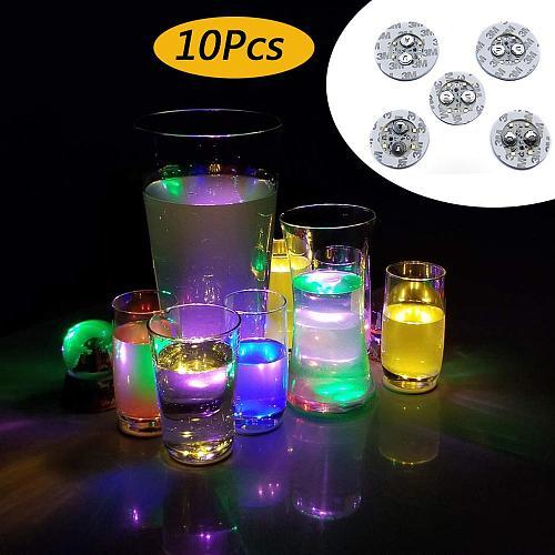 10Pcs Light Up Coasters LED Bottle Lights Glorifier LED Sticker Coaster Discs for Christmas Party Wedding Club Bar Decoration