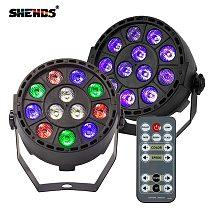 Wireless Remote Control RGBW 12x3W UV Disco Wash Flat Light Equipment 8 Channels DMX 512 LED Uplight Stage Lighting Effect Light