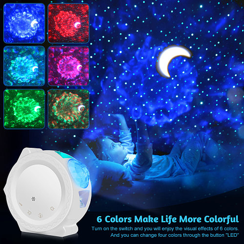 6 Colors Ocean Waving Light Stary Sky Projector LED Nebula Cloud Night Light 360 Degree Rotation Night Light Lamp for Kids DA