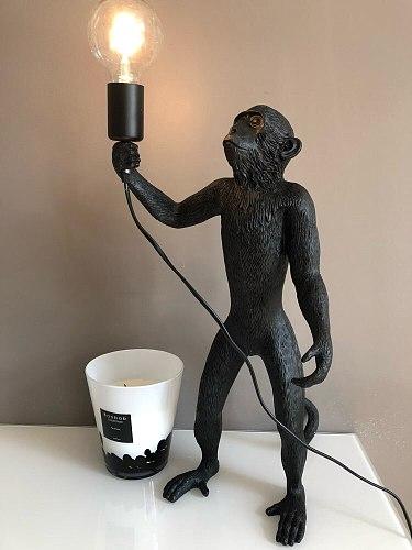 Modern Black Monkey Lamp Resin Hemp Rope Monkey Lamp White Living Room Monkey Lights In animal Pendant Lights Hanging Lamp E27