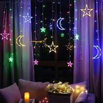 Christmas Lights Indoor/Outdoor EU220V/US110V Fairy lights Moon Star Lamp LED String Decoration for home Party Holiday lighting
