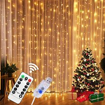 3M LED USB Power Remote Control Curtain Christmas Garland Lights Fairy Lights LED String Lights Party Garden Home Wedding Decor