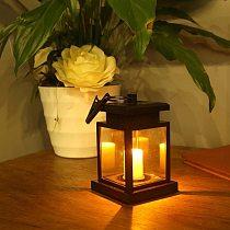 Waterproof LED Solar Garden Light Flickering Flameless Candle Outdoor Lighting Hanging Smokeless Solar Lantern for Camping