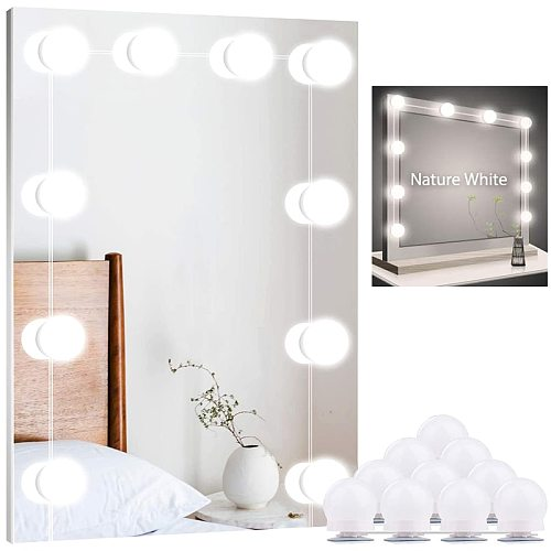 Hollywood Led Vanity Mirror Lights for Makeup 5V Lighted Makeup Wall Lamp Stepless Dimmable Vanity Light Bulb for Dressing Table