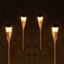 Thrisdar Outdoor Garden Solar Bamboo Torch Lights Landscape Pathway Solar Tiki Torch Light Solar Lawn Spike Spotlight
